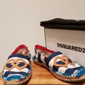 Dsquared2 Flat Espadrilles Blue and White Stripes